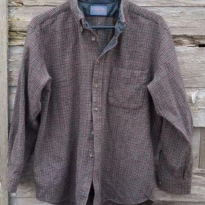 Vintage Pendleton Wool Houndstooth Plaid Shirt